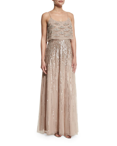 Aidan Mattox Sleeveless Embellished Popover Gown, Light Mink
