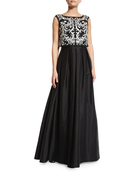 Aidan Mattox Sleeveless Embroidered-Popover Gown, Black