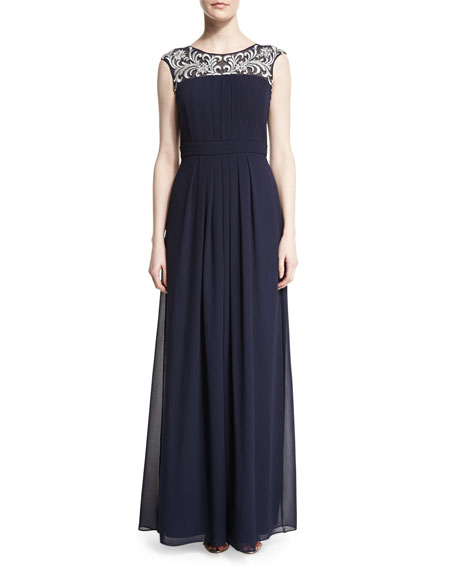 Aidan Mattox Cap-Sleeve Embroidered-Yoke Gown, Twilight