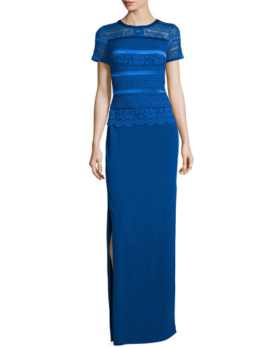 Short-Sleeve Lace & Jersey Gown, Cobalt