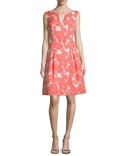 Cap-Sleeve Floral-Embellished Cocktail Dress, Carnation