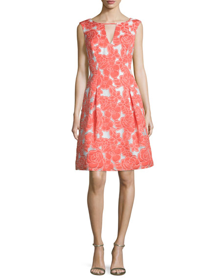 Aidan Mattox Cap-Sleeve Floral-Embellished Cocktail Dress, Carnation