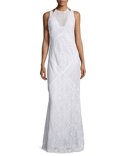 Rene Geometric-Lace Maxi Dress, Summer White