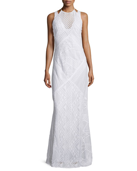 French Connection Rene Geometric-Lace Maxi Dress, Summer White