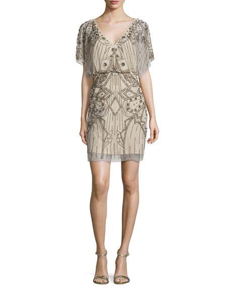 Aidan Mattox Short-Sleeve Sequined & Beaded Blouson Dress,