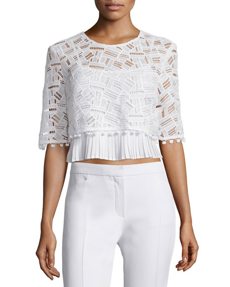 French Connection Freddy Half-Sleeve Lace Top, Summer White
