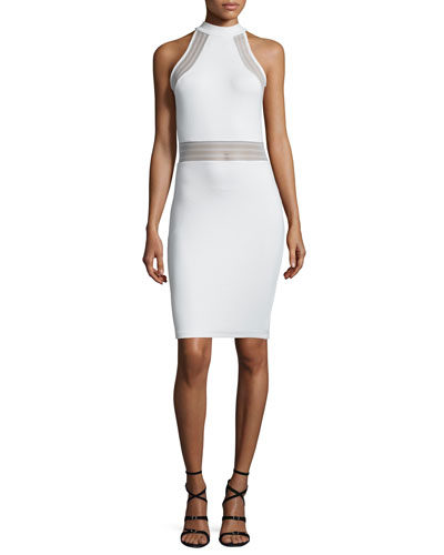 Bette Sleeveless Mesh-Inset Bodycon Dress, White