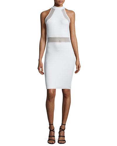 Bette Sleeveless Mesh-Inset Bodycon Dress, White