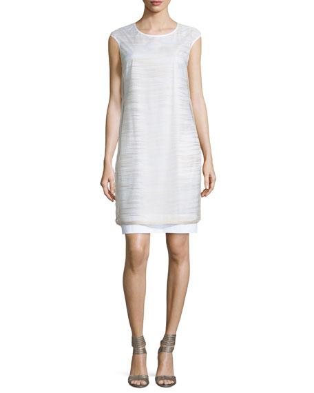 Peserico Striped Sheer-Overlay Dress, White/Stone