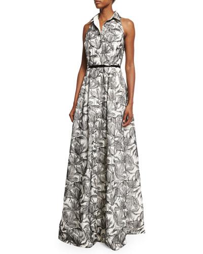 Sleeveless Printed Shirtdress Gown, Ivory/Black
