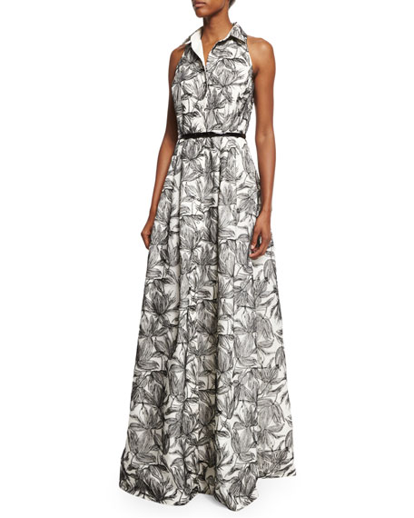 Carmen Marc Valvo Sleeveless Printed Shirtdress Gown, Ivory/Black