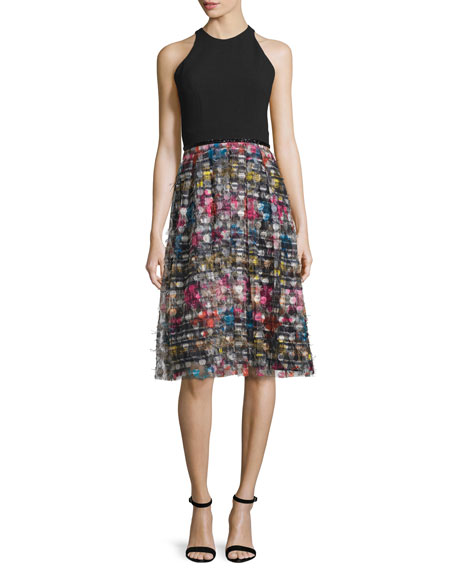 Carmen Marc Valvo Sleeveless Combo Striped Midi Cocktail