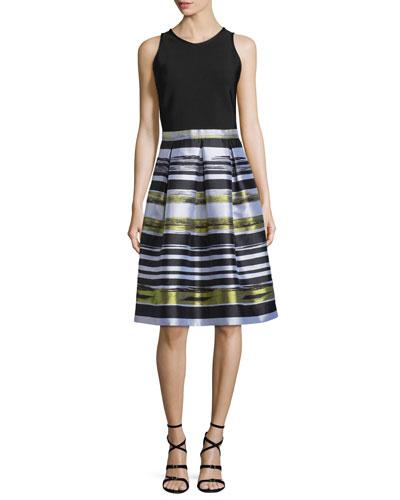 Sleeveless Striped Combo Fit & Flare Dress
