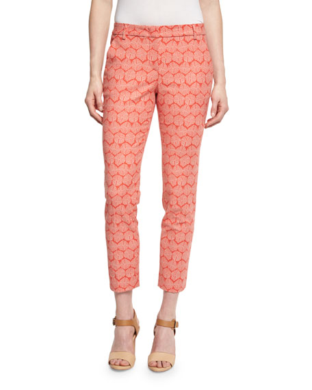 Peserico Geometric-Print Cropped Pants, Coral/Taupe