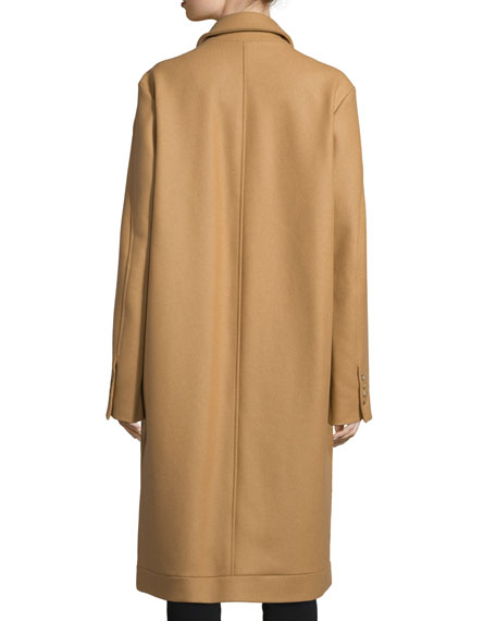 Long-Sleeve Cocoon Coat, Camel