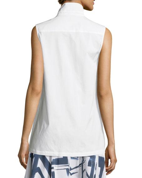 Sleeveless Side-Slit Long Top, White