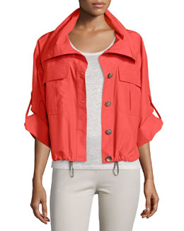 Button-Front Cropped Rain Jacket, Coral