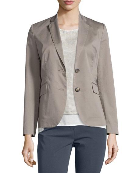 Peserico Two-Button Cotton Blazer, Taupe