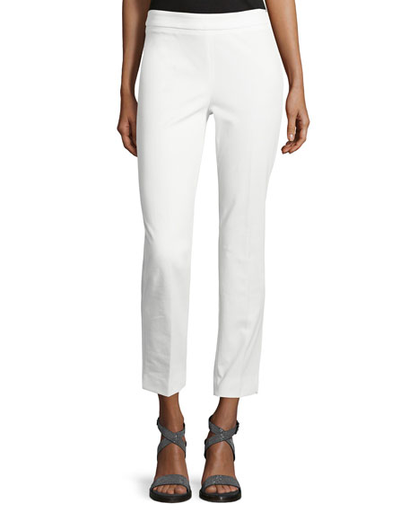 Peserico 4-Way Stretch Cropped Pants, White
