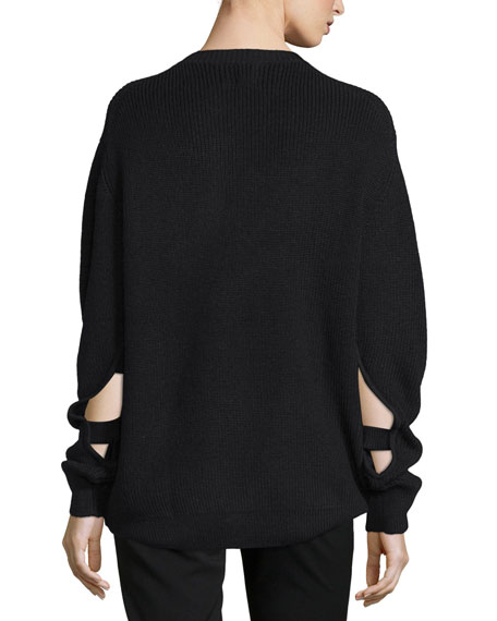 Long-Sleeve Split-Cuff Sweater, Black