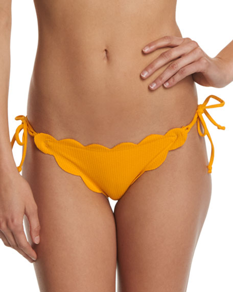 Marysia Mott Tie-Side Scalloped Swim Bottom, Papaya