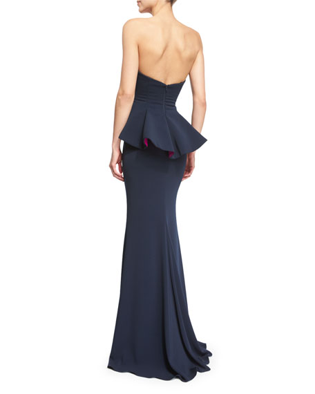 Badgley Mischka Strapless Colorblock Peplum Gown