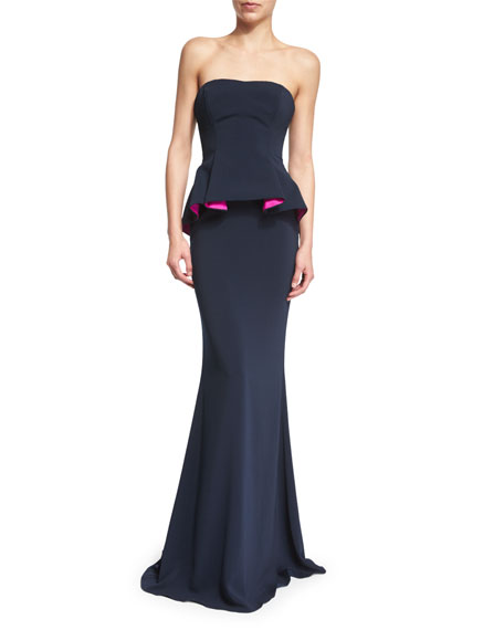 Badgley Mischka Strapless Colorblock Peplum Gown
