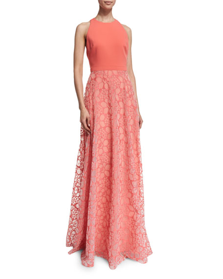 Badgley Mischka Sleeveless Combo Organza Gown