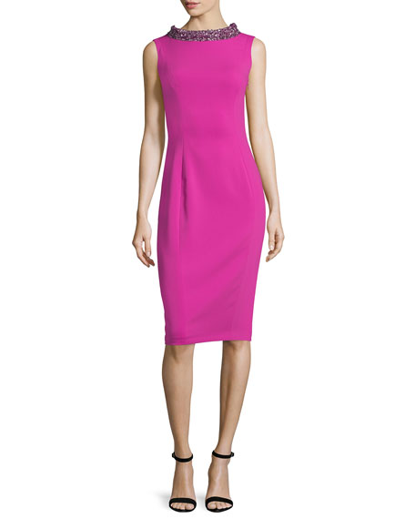 Badgley Mischka Sleeveless Embellished Cocktail Dress, Fuchsia