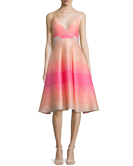 Badgley MischkaSleeveless Striped-Ombre Dress, Fuchsia/Multi