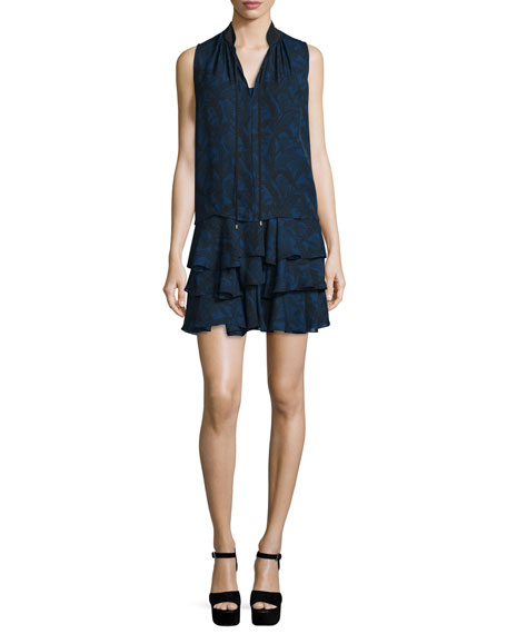 Derek Lam 10 Crosby Sleeveless Printed Silk Tiered