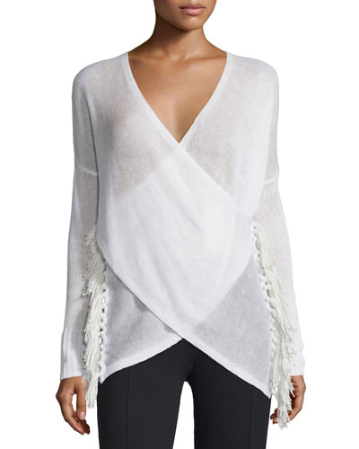 Cross-Front Tassel Sweater, Soft White