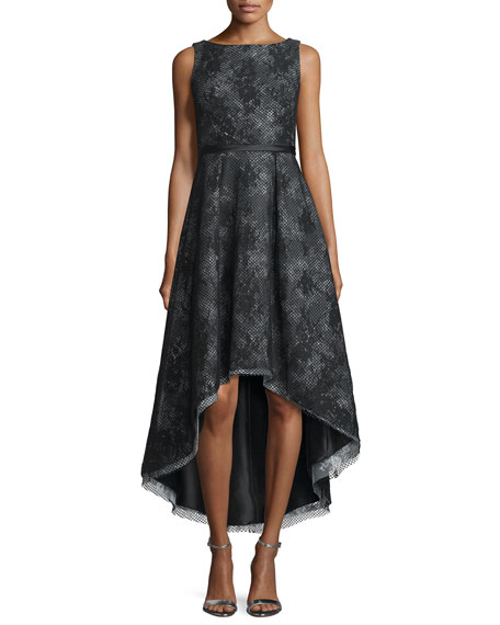 ML Monique Lhuillier Sleeveless Jacquard High-Low Cocktail Dress
