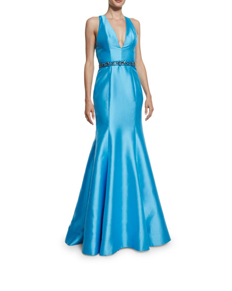 ML Monique Lhuillier Sleeveless V-Neck Mikado Belted Trumpet