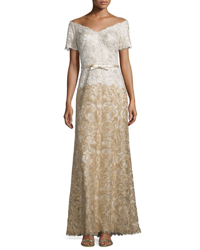 V-Neck Short-Sleeve Combo Lace Gown, Ivory/Gold