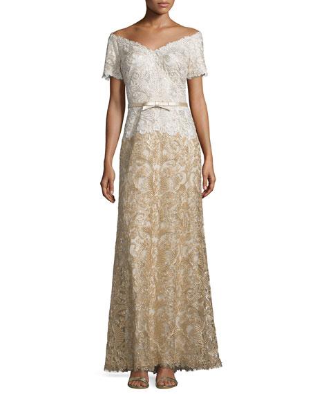 Tadashi Shoji V-Neck Short-Sleeve Combo Lace Gown, Ivory/Gold
