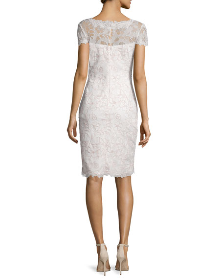 Short-Sleeve Lace Cocktail Dress, Antique Pink/Ivory