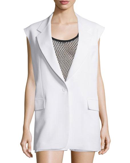 Crepe Oversized Open-Back Vest, Chalk