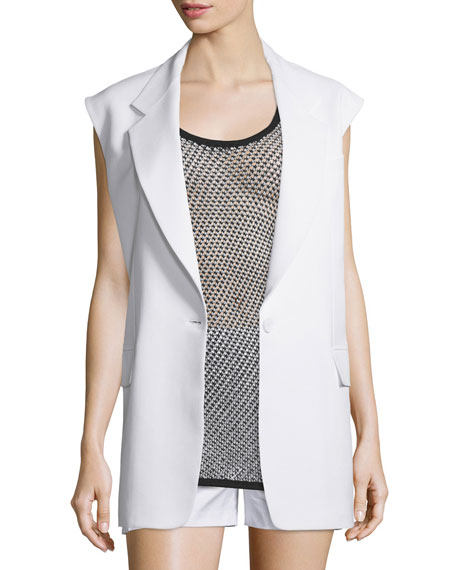 DKNY Crepe Oversized Open-Back Vest, Mesh Contrast-Trim Scoop