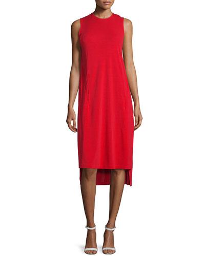 Cape-Sleeve Jersey Midi Dress, Vermillion