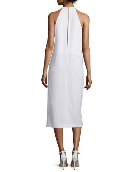 Sleeveless Draped Crepe Midi Dress, White