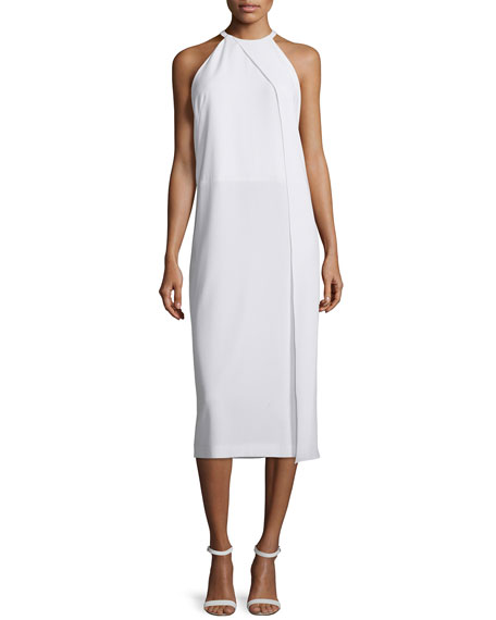 DKNY Sleeveless Draped Crepe Midi Dress, White