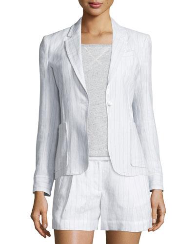 Striped Linen-Blend Schoolboy Blazer, White