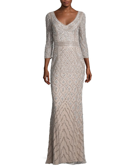 Theia 3/4-Sleeve Beaded Column Gown