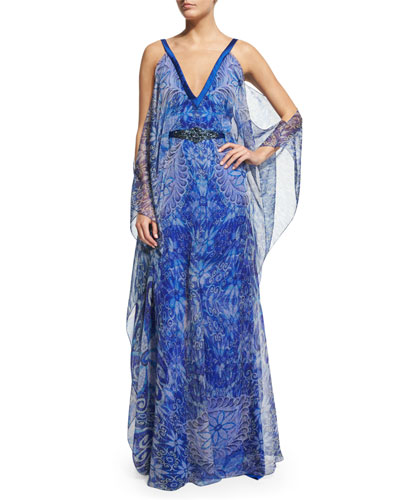 Cold-Shoulder Printed Chiffon Caftan