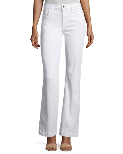 Denim Flare-Leg Trousers, White