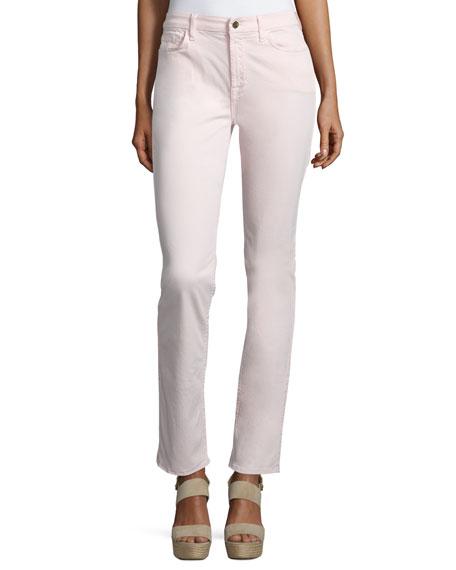 JEN7 Sateen Skinny Cropped Jeans, Pink