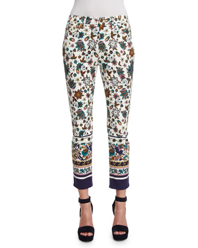 Scarf-Print Skinny Cropped Jeans, White/Multi