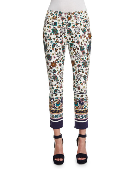 JEN7 Scarf-Print Skinny Cropped Jeans, White/Multi