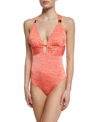 Melange Cross-Back Gathered One-Piece Swimsuit